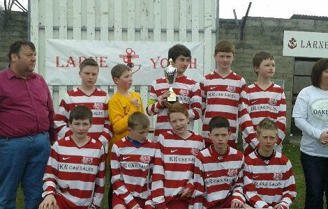 Winning Colts 14s team at Larne Youth Soccer Seven Tournamnet.