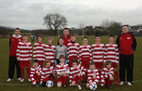 Ballyclare Colts U11s squad and coaches