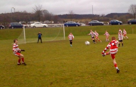 Michael Stewart shoots on goal v Chimney Corner 15 01 11